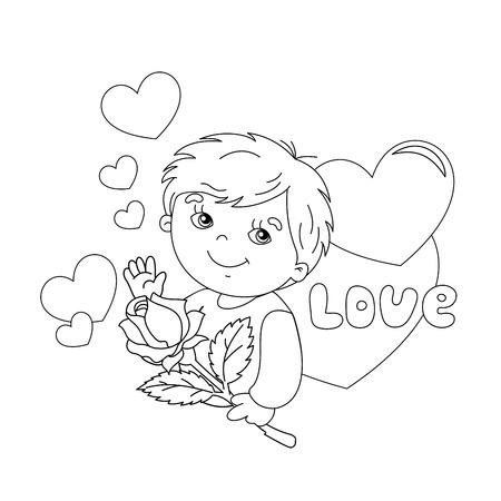 Dibujo Para Colorear Esquema De Chico Lindo Con La Rosa En La Mano Con El Corazón 14 De Febrero Día De San Valentín Día De Los Enamorados