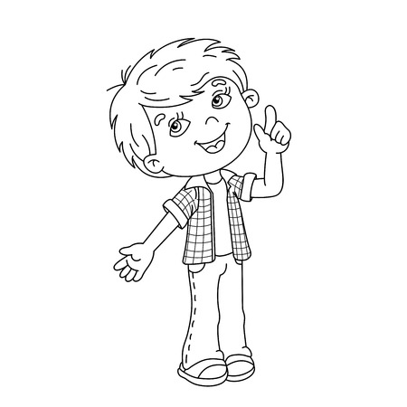 Coloring page outline of cartoon Boy with great idea Illustration