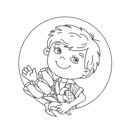 Coloring Page Outline Of cartoon boy holding a bouquet of Tulips. Coloring book for kids
