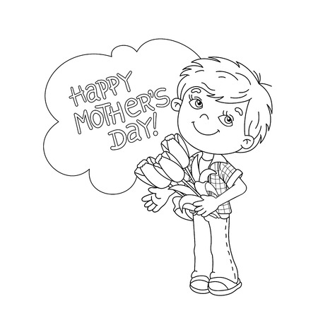liking: Coloring Page Outline Of cartoon boy holding a bouquet of Tulips. Coloring book for kids. Mothers day Illustration