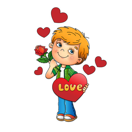 liking: Valentines day. Charming boy with rose in hand with hearts isolated on white background. Cartoon. For kids.