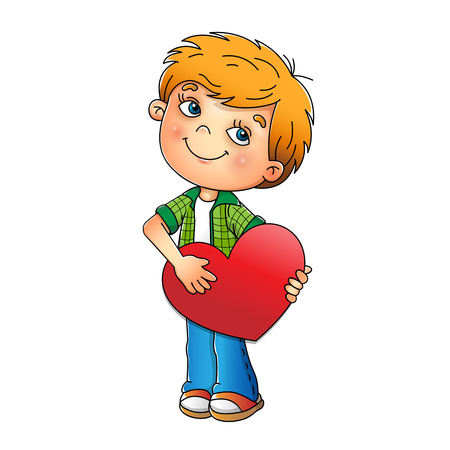 Valentines day. Charming boy with heart isolated on white background. Cartoon. For kids.