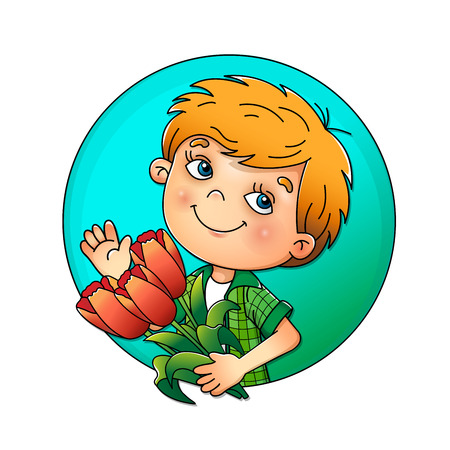 liking: Boy holding a bouquet of Tulips isolated on white background. Cartoon. For kids. Illustration