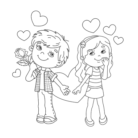 coloring page outline of cartoon boy and girl with hearts coloring book for kids