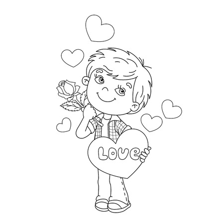liking: Coloring Page Outline Of cartoon boy with rose in hand with hearts. Coloring book for kids. Valentines day. Illustration