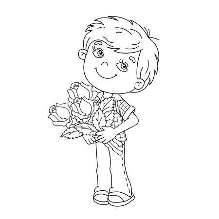 liking: Coloring Page Outline Of cartoon boy holding a bouquet of roses. Coloring book for kids