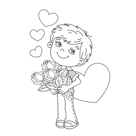 liking: Coloring Page Outline Of cartoon boy holding a bouquet of roses with hearts. Coloring book for kids. Valentines day.