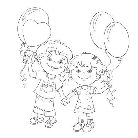 girls holding hands: Coloring Page Outline Of cartoon girls holding hands with balloons. Coloring book for kids Illustration