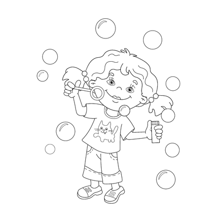 Coloring Page Outline Of Cartoon Girl Blowing Soap Bubbles
