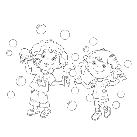 Coloring Page Outline Of Cartoon Girl Blowing Soap Bubbles ...