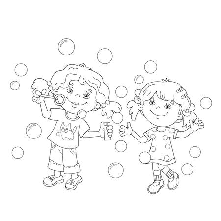 Página Para Colorear Esquema De Chicas De Dibujos Animados De La ...