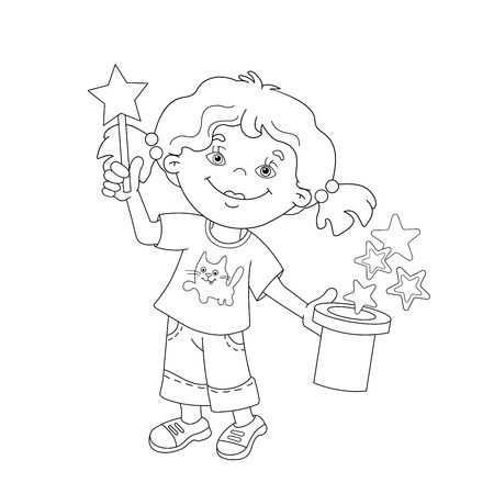 girl magic wand: Coloring Page Outline Of cartoon girl showing the focus with a magic wand. Coloring book for kids
