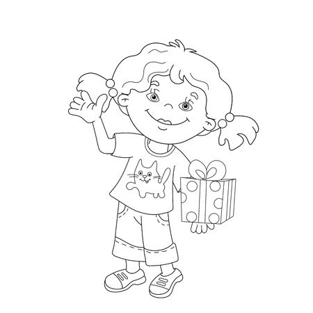 Coloring Page Outline Of Cartoon Girls With A Gift At The Holiday
