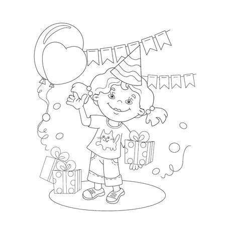 Página Para Colorear Esquema De Dibujos Animados Chica Con Un Regalo ...