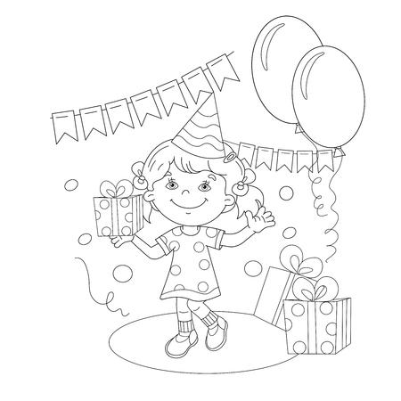 Página Para Colorear Esquema De Chicas De Dibujos Animados Con Un ...