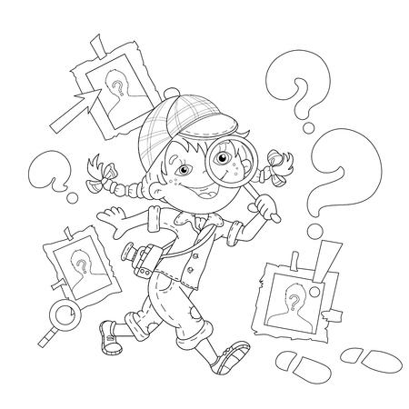 Página para colorear Esquema de detective niña de dibujos animados con la lupa. Libro de colorear para niños