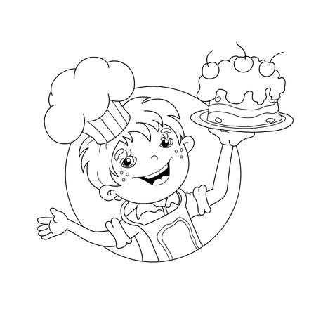 Madre Y Niños Que Cocinan En La Página Del Libro Para Colorear ...