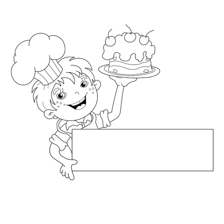 coloring sheets: Coloring Page Outline Of cartoon Boy chef with cake. Template for menu. Coloring book for kids Illustration