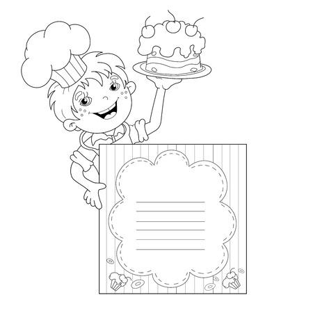 Página Para Colorear Esquema Del Niño De Dibujos Animados Cocinero ...
