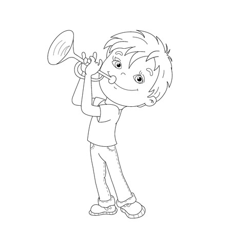 Coloring Page Outline Of Cartoon Boy Playing The Trumpet Book For Kids Vector