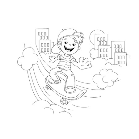 coloring sheets: Coloring Page Outline Of cartoon Boy on the skateboard in the city. Coloring book for kids