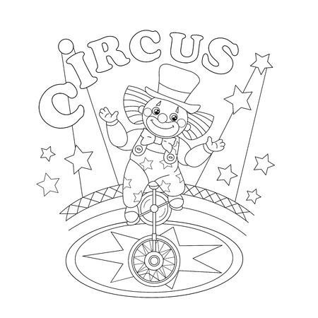 Coloring Page Outline Of a funny clown. Coloring book for kids 矢量图像