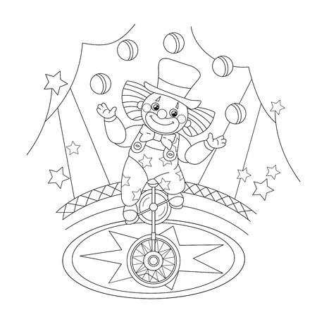 coloring sheets: Coloring Page Outline Of a funny clown juggling balls. Coloring book for kids