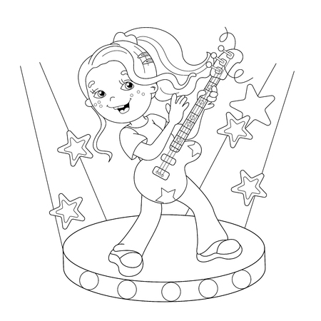 boy playing guitar: Coloring Page Outline Of cartoon girl playing the guitar on stage. Coloring book for kids