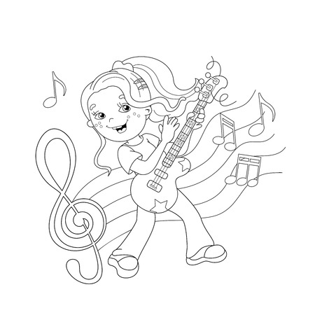 boy playing guitar: Coloring Page Outline Of girl playing the guitar with melody and music. Coloring book for kids