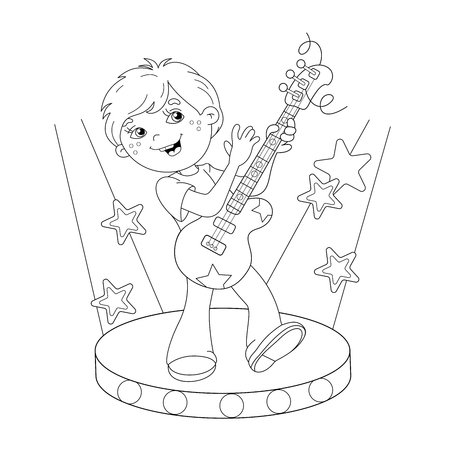 boy playing guitar: Coloring Page Outline Of cartoon boy playing guitar on stage. Coloring book for kids Illustration