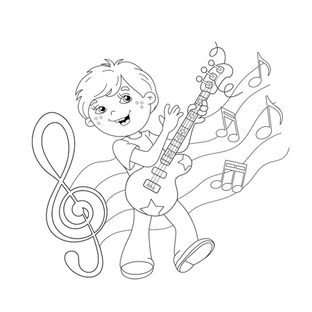 boy playing guitar: Coloring Page Outline Of cartoon boy playing guitar on stage with melody and music. Coloring book for kids