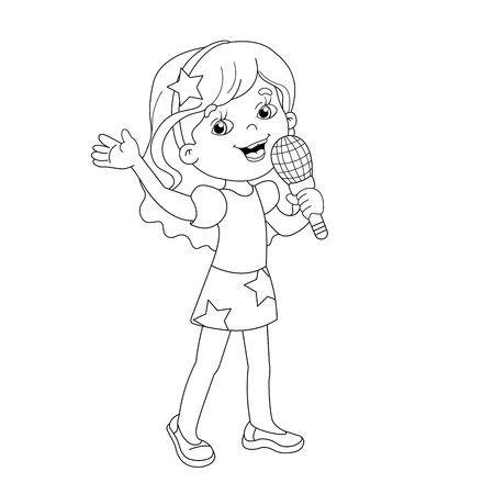 Coloring Page Outline Of Cartoon Girl Singing A Song Book For Kids Stock Vector