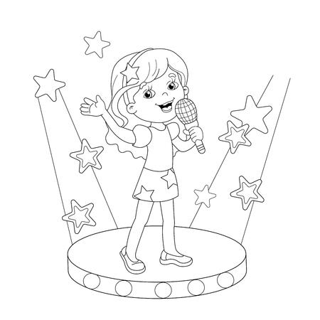 Página Para Colorear Esquema De Dibujos Animados Niños Y Niñas A ...