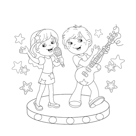boy playing guitar: Coloring Page Outline Of cartoon boy and girl singing a song with a guitar on stage. Coloring book for kids Illustration