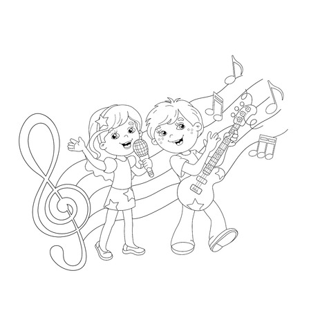 boy playing guitar: Coloring Page Outline Of cartoon boy and girl singing a song with a guitar with melody and music. Coloring book for kids