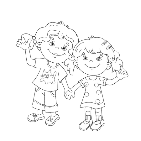 girls holding hands: Coloring Page Outline Of cartoon girls holding hands. Coloring book for kids