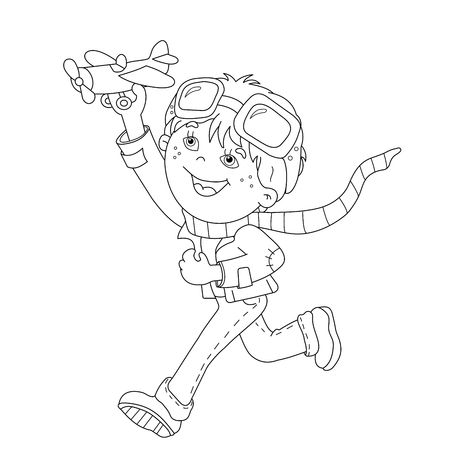 toy plane: Coloring Page Outline Of cartoon boy with toy plane. Coloring book for kids Illustration