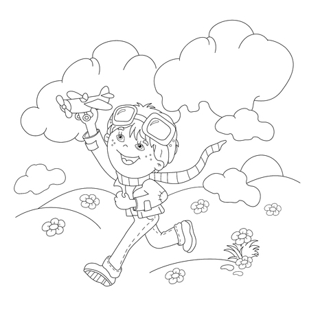 airman: Coloring Page Outline Of cartoon boy with toy plane. Coloring book for kids Illustration