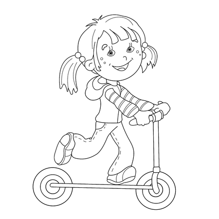 Coloring Page Outline Of cartoon girl on the scooter. Coloring book for kids