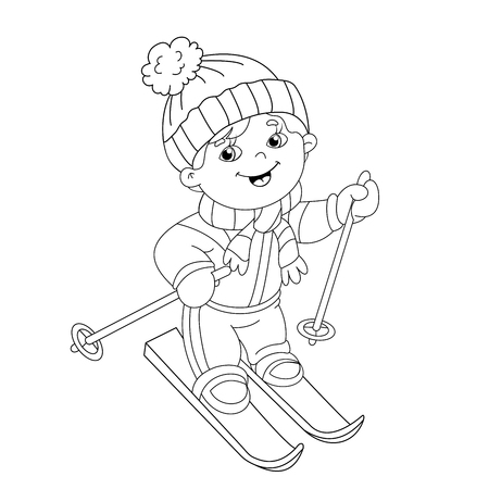 coloring page outline of cartoon boy riding on skis winter sports coloring book for