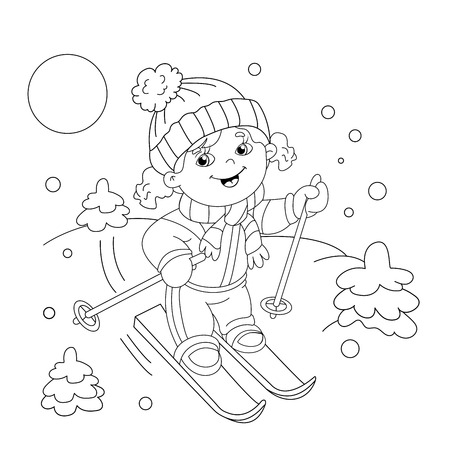 Coloring Page Outline Of cartoon girl riding on skis. Winter sports. Coloring book for kids 矢量图像