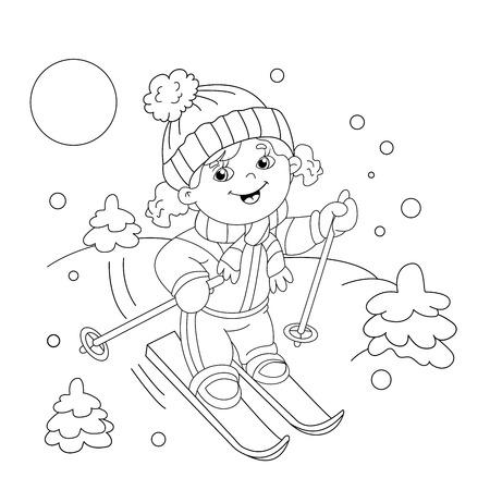 Página Para Colorear Esquema Del Niño De Dibujos Animados Montar En ...