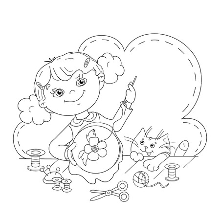 needlework: Coloring Page Outline Of cartoon girl with thread, needle and scissors. Embroidery. Needlework. Coloring book for kids