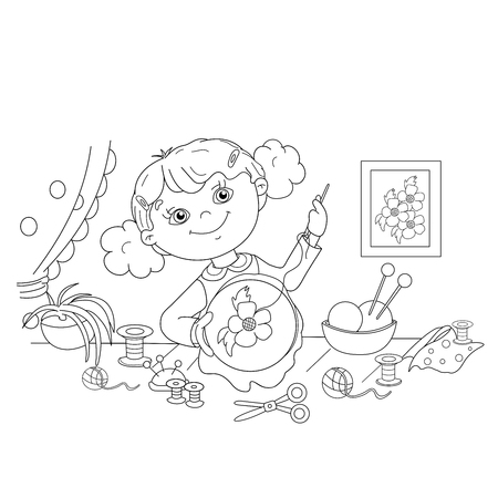 Coloring Page Outline Of cartoon girl with thread, needle and scissors. Embroidery. Needlework. Coloring book for kids