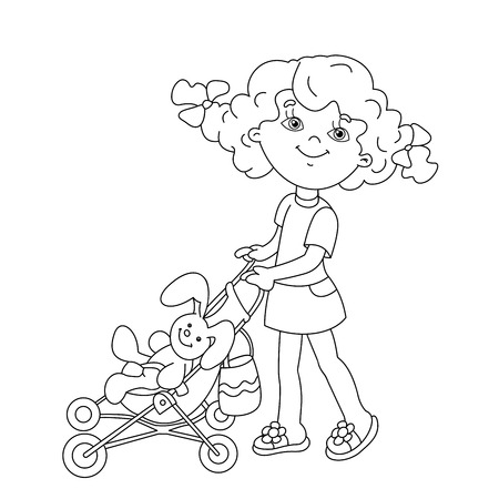babysit: Coloring Page Outline Of cartoon girl playing with dolls with baby stroller. Coloring book for kids
