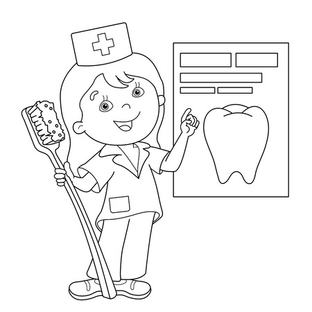Coloring Page Outline Of cartoon doctor with a toothbrush. Profession. Medicine. Coloring book for kids Stock Illustratie