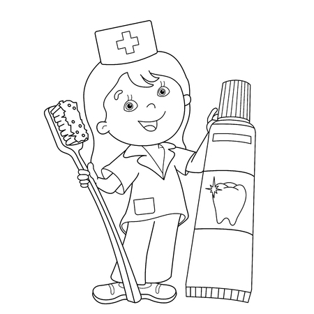 歯ブラシと歯磨き粉漫画医師のページのアウトラインのぬりえ。職業。医学。子供のための塗り絵 写真素材 - 58849113