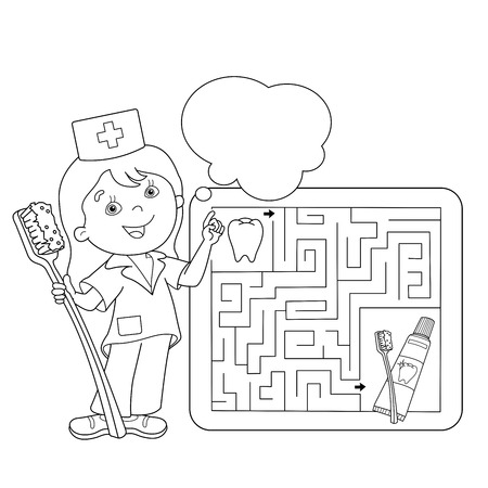 Coloring Page Outline Of cartoon doctor with toothbrush and toothpaste. Labyrinth. Profession. Medicine. Coloring book for kids