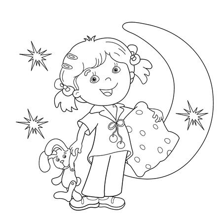 Kleurplaat Overzicht Van cartoon meisje in pyjama met een kussen. Bedtijd. Kleurboek voor kinderen