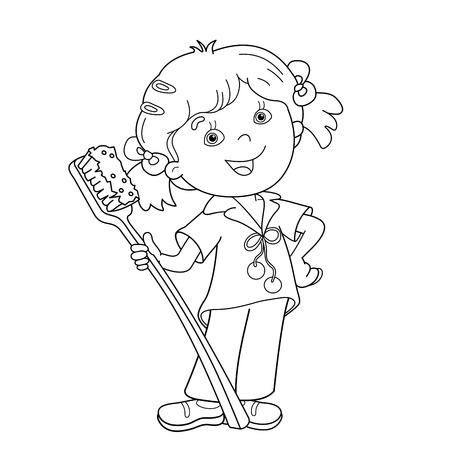 Página Para Colorear Esquema De Niña De Dibujos Animados Con La ...